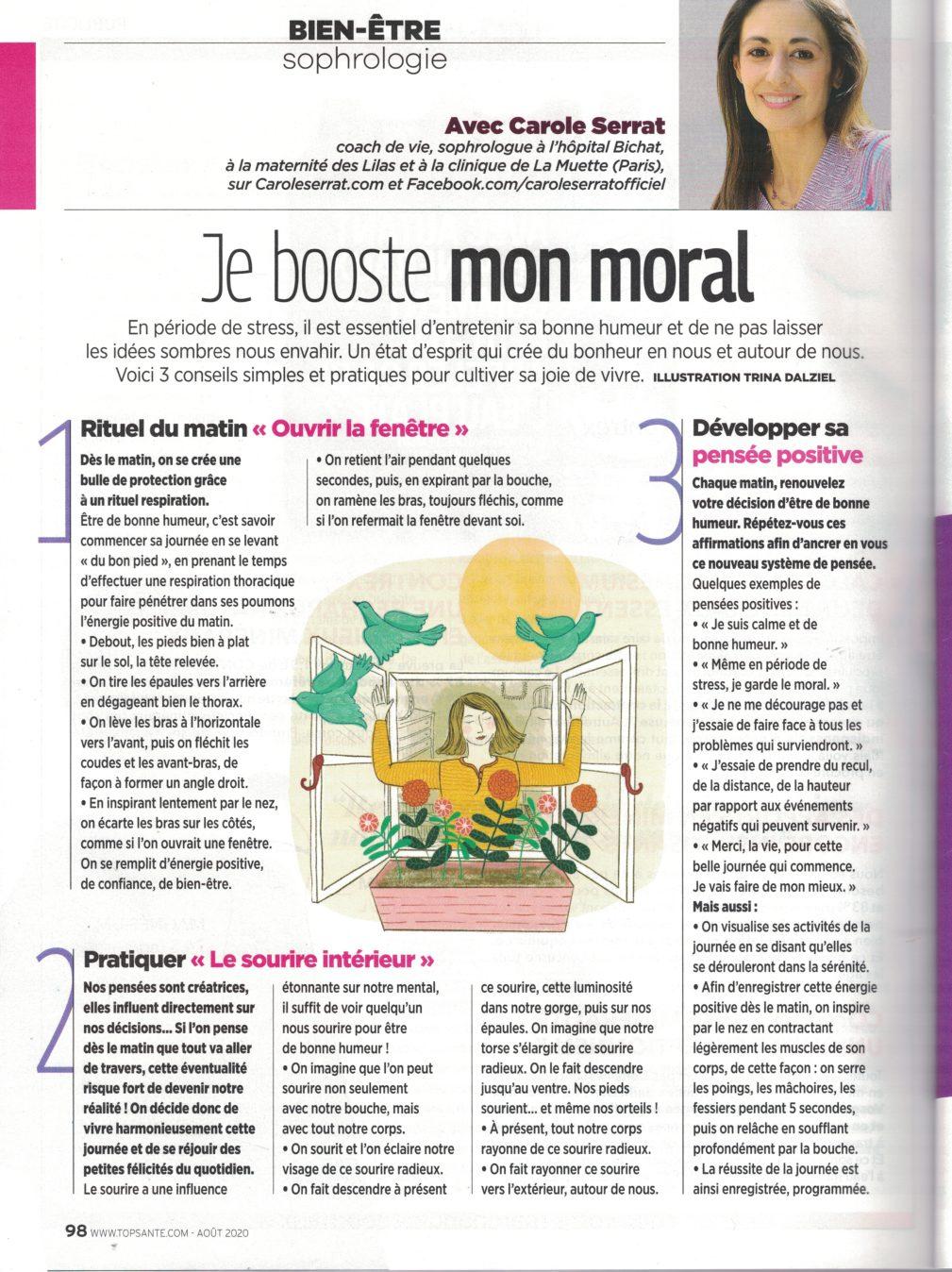 Booster mon moral mon article dans Top santé